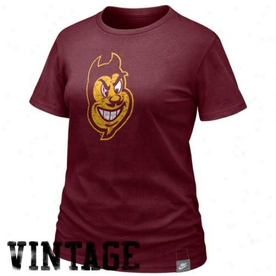 Arizona State Sun Devils T-shirt : Nike Arizona State Sun Devils Ladies Maroon Vault Lived In Organic T-shirt