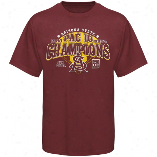 Arizona State Sun Devils Tees : Arizina State Sun Devilss Maroon 2010 Pac-10 Baseball Conefrence Champions Tees