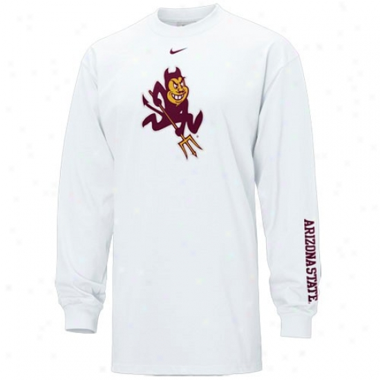 Arizona State Sun Devils Tees : Nike Arizona State Sun Devils White Classic Logo Throughout Sleeve Tees