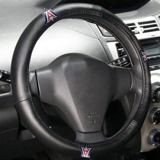 Arizona Wildcats Black Leather Steering Wheel Cover