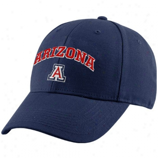 Arizona Wildcats Gear: Arizona Wildcats Navy Blue Classic Logo Fex Fit Hat