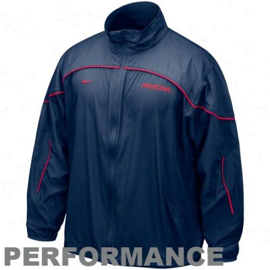 Arizona Wildca5s Jacket : Nike Arizona Wildcats Navy Blue Run Bkitz Loud Zip Performance Jerkin