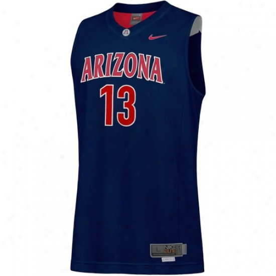 Arizona Wildcatw Jersey : Nikee Arizona Wildcats #13 Navy Blue Tackle Twill Basketball Jersey