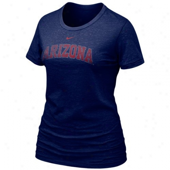 Arizona Wildcats Shirts : Nike Arizona Wildcats Ladies Navy Blue Favorite Burnout Premium Shirts