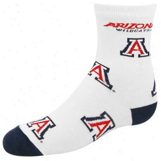 Arizona Wildcats White Preschool 6-8 (903) Team Logo Socks