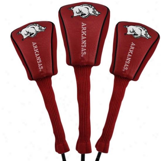 Arkansas Razorbacks Black Three-pack Golf Club Headcovers