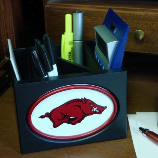 Arkansas Razorbacks Black Wooden Team Logo Desktop Organizer