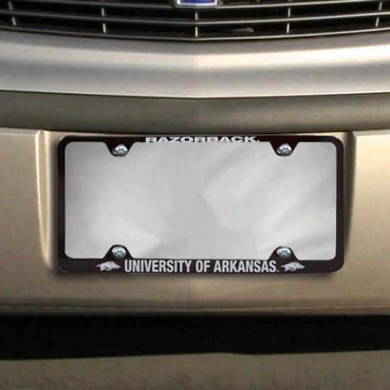 Arkansas Razorbacks Cardinal Engraved License Plate Frame