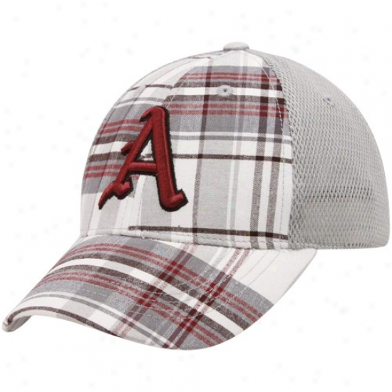 Arkansas Razorbacks Gear: Top Of The World Arkansas Razorbacks Cardinal Plaid Mvp Mesh Back Adjustable Hat