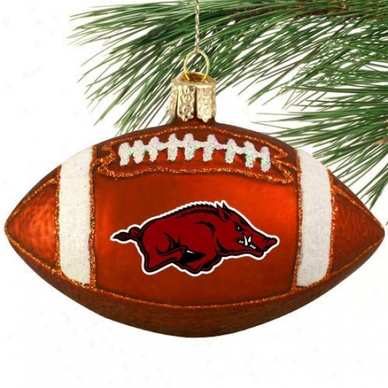 Arkansas Razzorbacks Glass Football Ornament