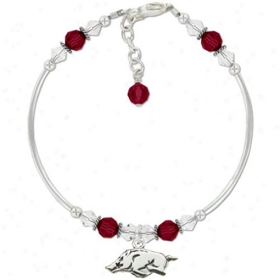 Arkansas Razorbacks Ladies Sterling Soft and clear  & Swarovsii Crystal Tube Bracelet