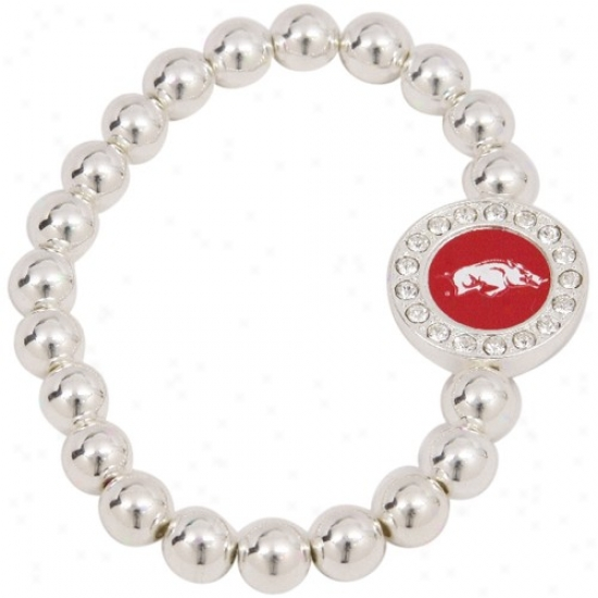 Arkansas Razorbacks Round Crystal Beaded Srtetch Bracelet