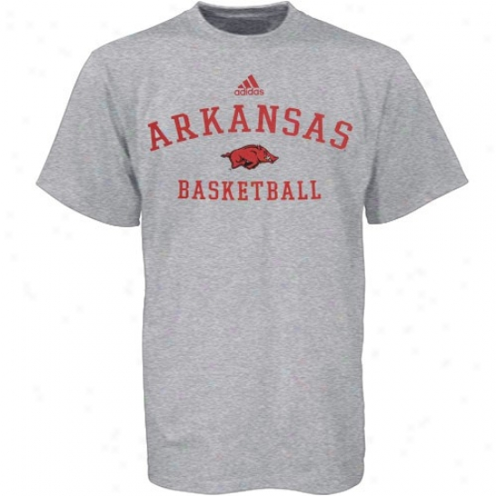 Arkansas Razorbacks Shirt : Adidas Arkansas Razorbacks Ash Basketball Practice Shirt