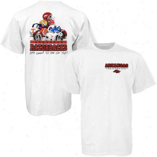 Arkansas Razorbacks Shirts : Arkansas Razorbacks White Helmet Pile Shirts