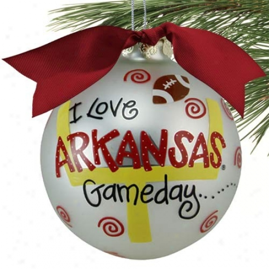 Arkansas Razorbacks Silver Game Day Christmas Ornament