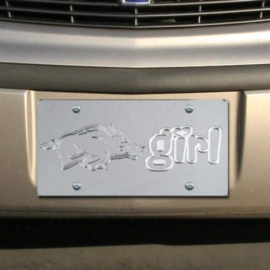Arkansas Razorbacks Gentle Mirrored Afkansas Girl License Plate