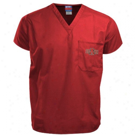 Arkansas Commonwealth Red Wolves Tshirts : Arkansas State Red Wolves Scarlet Scrub Top