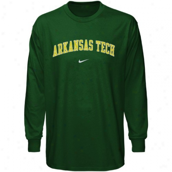 Arkansas Tech Wonder Boys Apparel: Nike Arkansas Tech Winder Boys Green Vertical Arch Long Sleeve T-shirt
