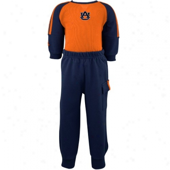 Auburn Tiger Hoodys:  Splendid Auburn Tiger Infant Orange-navy Blue Long Sleeve Bodysuit & Sweatpants Set