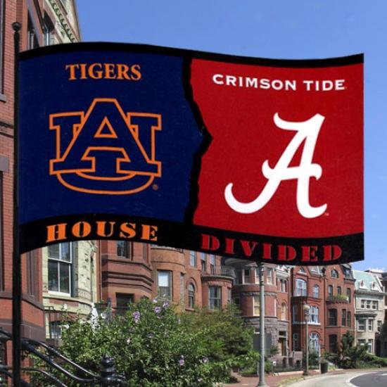 Auburn Tigers Flags : Nut-brown Tigers/alabama Crimson Tjde House Divided 3x5 Flags