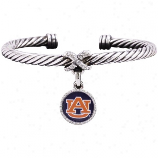 Auburn Tigers Ladies Antiqued Silver Twisted Cable Bracelet