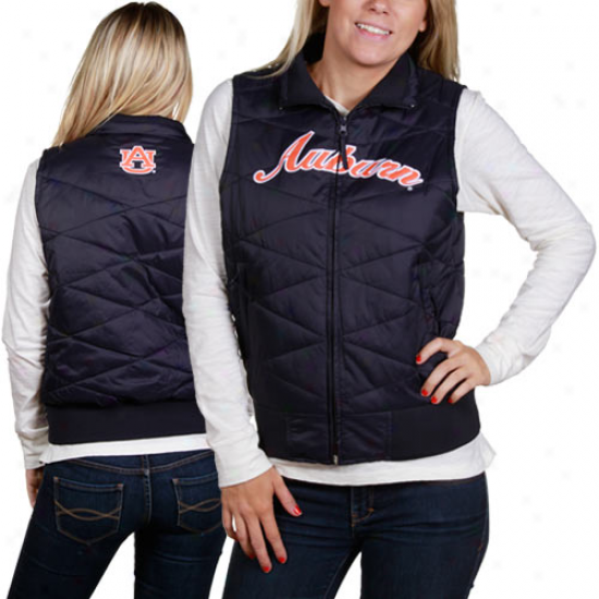 Auburb Tigers Ladies Navy Blue Bubble Vest