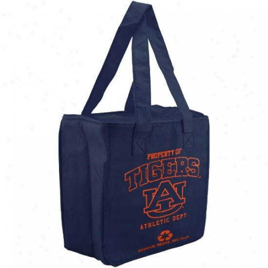 Auburn Tigers Navy Blue Reusable Insulated Tote Bag