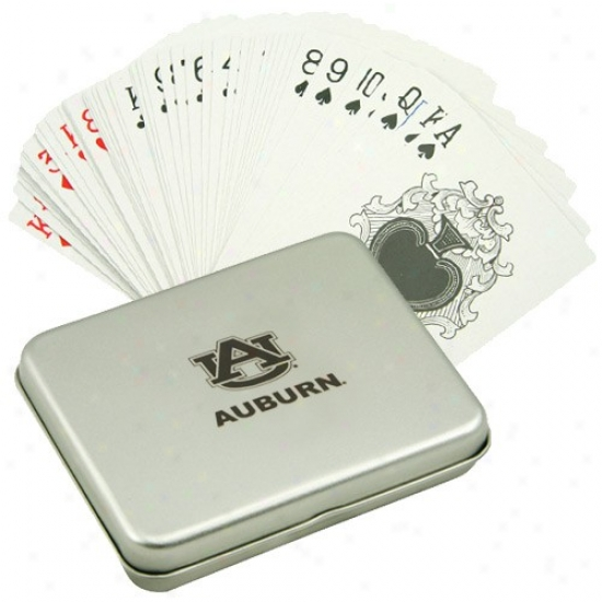 Auburn Tigers Playing Cards With Tin