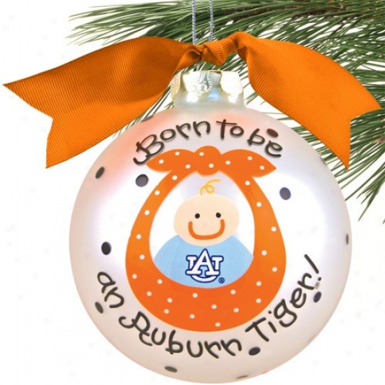 Auburn Tigers Silver Born To Be Baby Boy Christmas Ornament