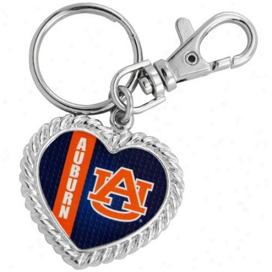Auburn Tigers Silvertone Heart Keychain