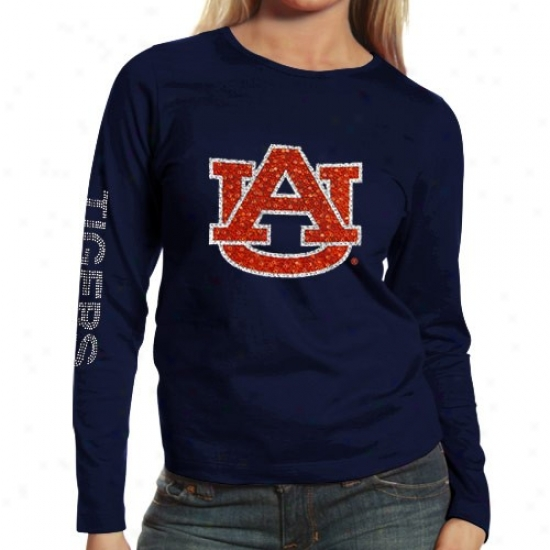 Auburn Tigers T-shirt : Auburn Tigers Ladies Navy Blue Taylor Long Sleece T-shirt