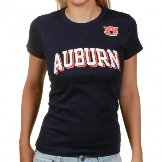 Nut-brown Tigers T Shirt : Auburn Tigers Ladies Nay Blue Arch Graphic Skinny T Shirt