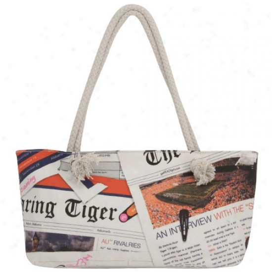 Auburn Tigers White-orange Newspriht Hobo Purse