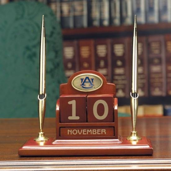 Auburn Tigers Wooden Calendar Desk Set