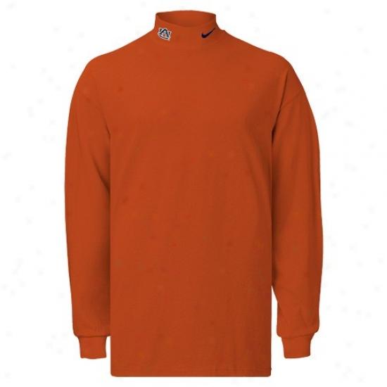 Auburn University T Shirt : Nike Auburn University Orange College Classic Mock Turtle Neck Long Sleeve T Shirt