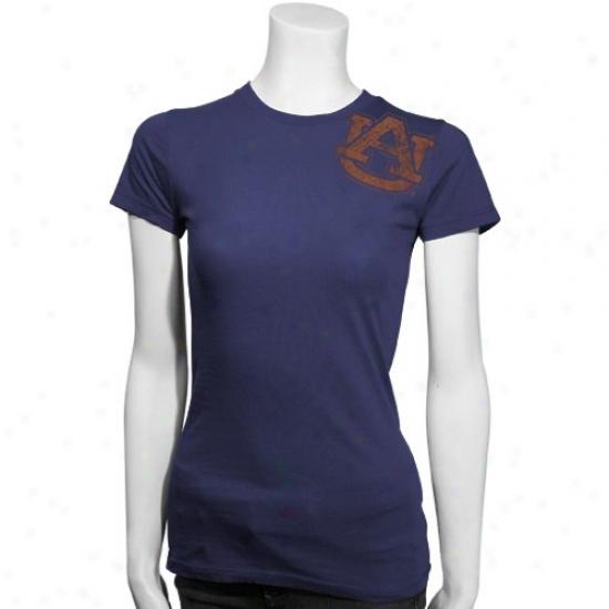 Auburn University Tee : My U Nut-brown University Navy Blue Ladies Giant Logo Slim Fit Tee