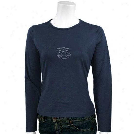 Auburn University Tees : Auburn University Ladies Navy Blue Rhinestone Logo Long Sleeve Tees