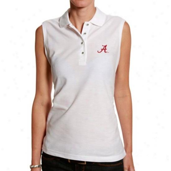 Bama  Polo : Bama  White Silk Touch Sleeveless Polo