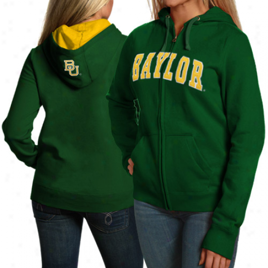 Baylor Bears Sweatshirts : Baylor Bears Ladies Green Game Lifetime Full Zkp Sweatshirts