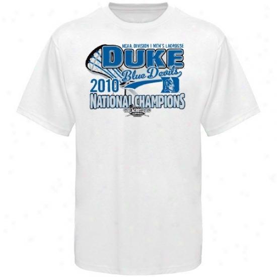 Blue DevilT  Shirt : Blue Devil White 2010 Ncaa Division I Men's Lacrosse Nagional Champions Locker Room T Shirt