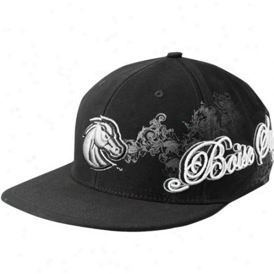 Boise State Hat : Nike Boise State Black Side Script Swoosh Fpex Hat