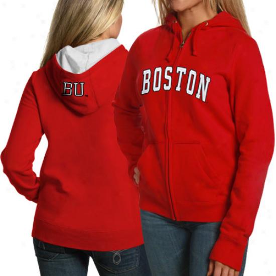 Boston Terriers Fleece : Boston Terriers Ladies Scarlet Game Day Full Zip Strip