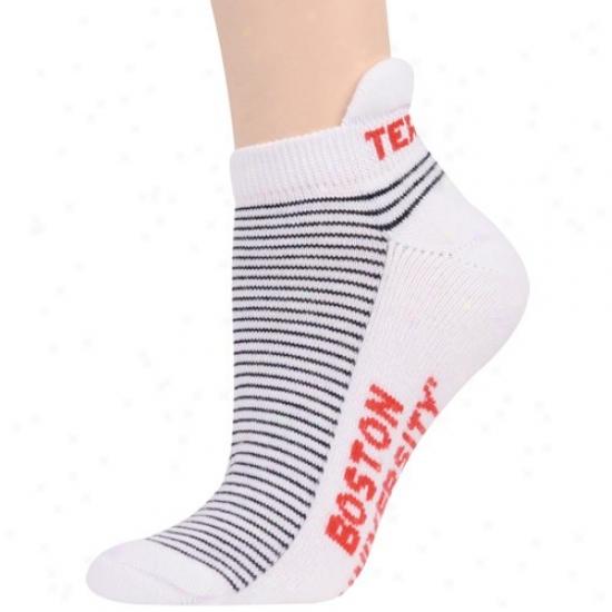 Boston Terriers Ladies White-blac Srriped Ankle Socks