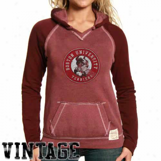 Boston Terriers Sweat Shirts : Original Retro Brand Boston Terriers Ladies Red 2-toned Sweat Shirts
