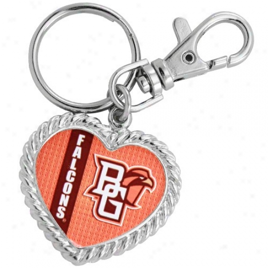 Bowling Green State Falcons Silvertone Heart Keychain