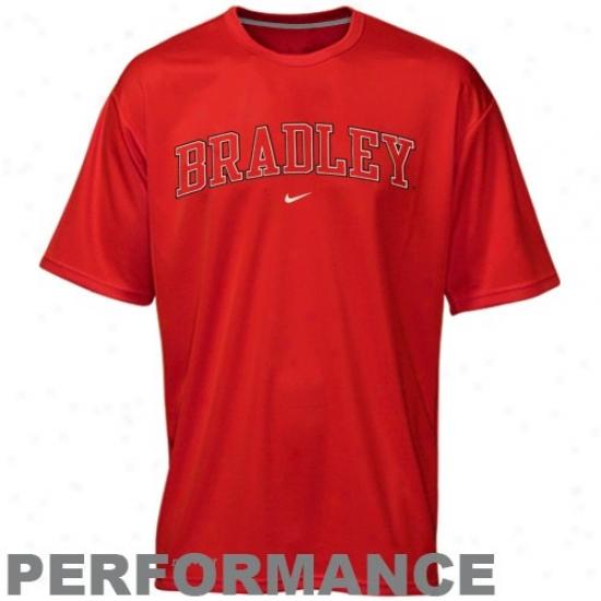 Bradley Braves Tee : Nike Bradley Braves Red Vertical Arch Performance Tee