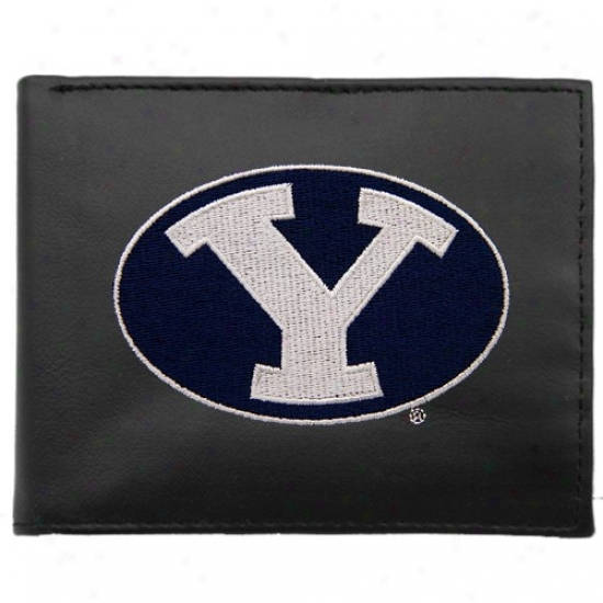 Brigham Young Cougars Black Embroidered Billfold Wallet