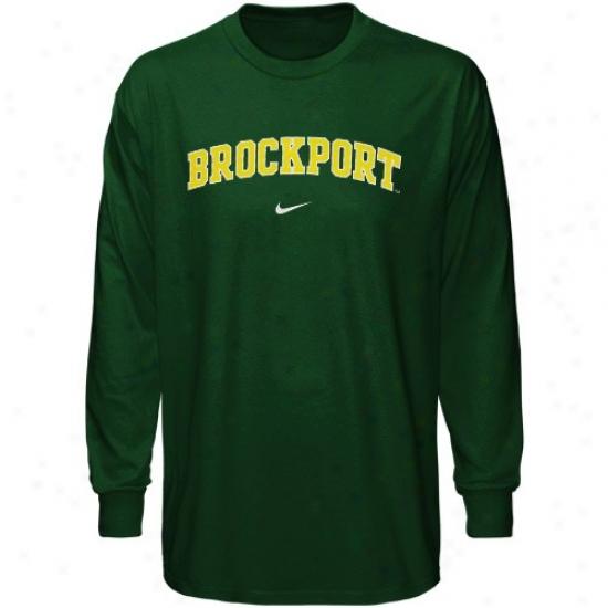 Brockport Golden Eagles Tshirts : Nike Brockport Golden Eagles Green Veritval Arch Long Sleeve Tshirts
