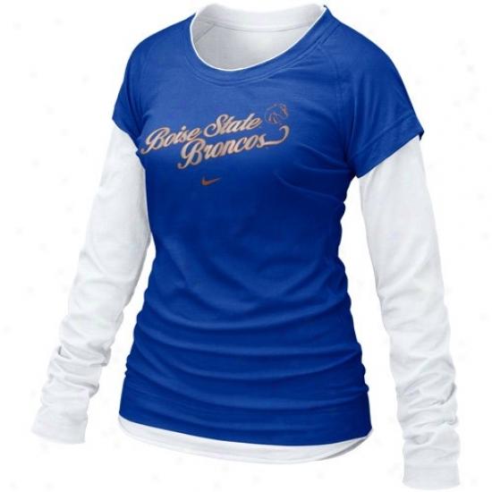 Bsu Bronco Tee : Nike Bsu Bronco Ladies Royal Blue 2010 Cross Campus Double Layer Long Sleeve Tee