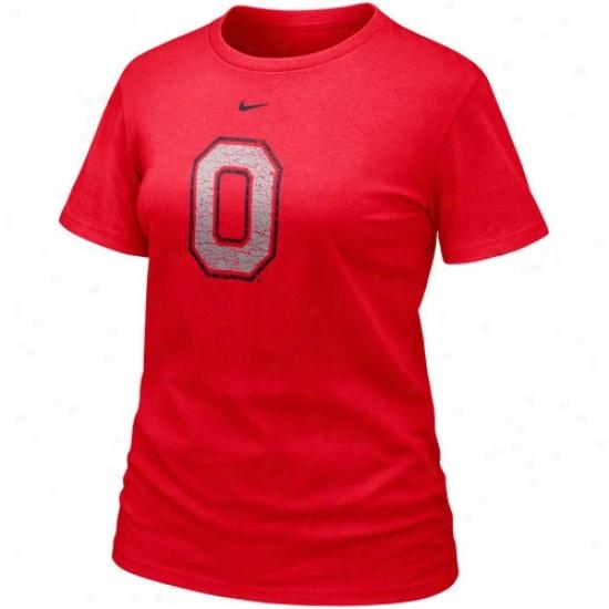 Buckeyye Apparel: Nike Buckeye Ladies Scarlet Frackle Blended T-shirt